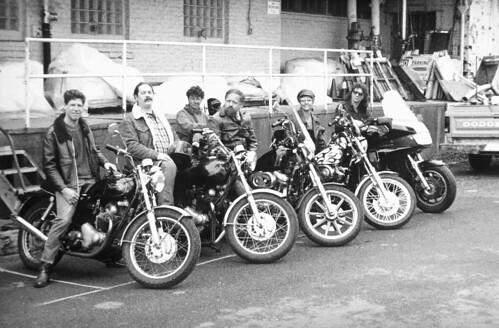 Motorcycles and riders, circa 1980s