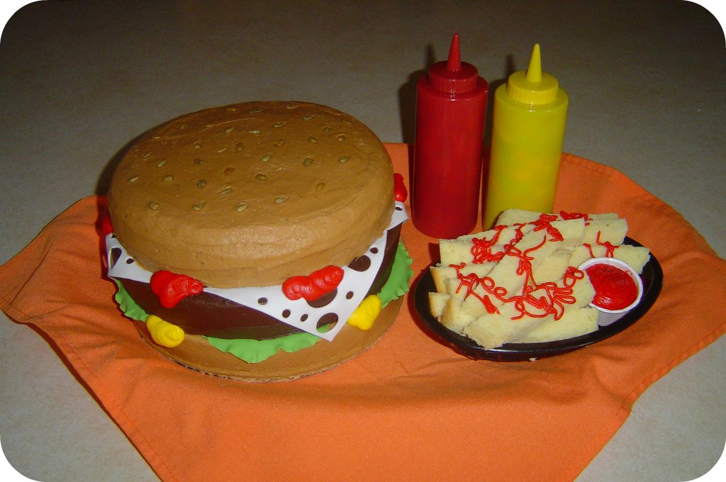 Hamburger and Fries Birthday Cake a photo on Flickriver