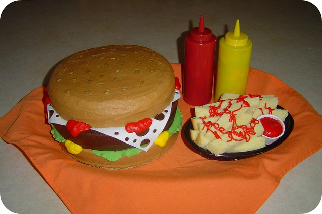 Hamburger and Fries Birthday Cake  Flickr - Photo Sharing!
