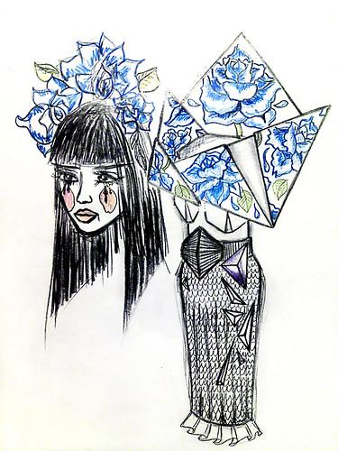 Blue_origami dress
