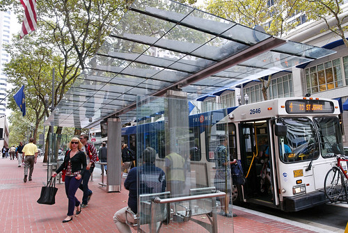 Bus shelter on Portland Transit Mall