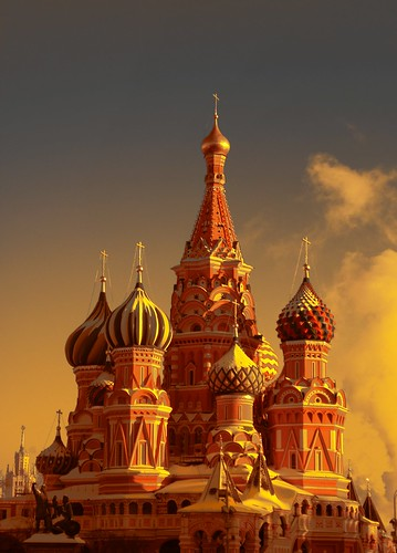 Saint Basil's Cathedral Moscow. Orange filter