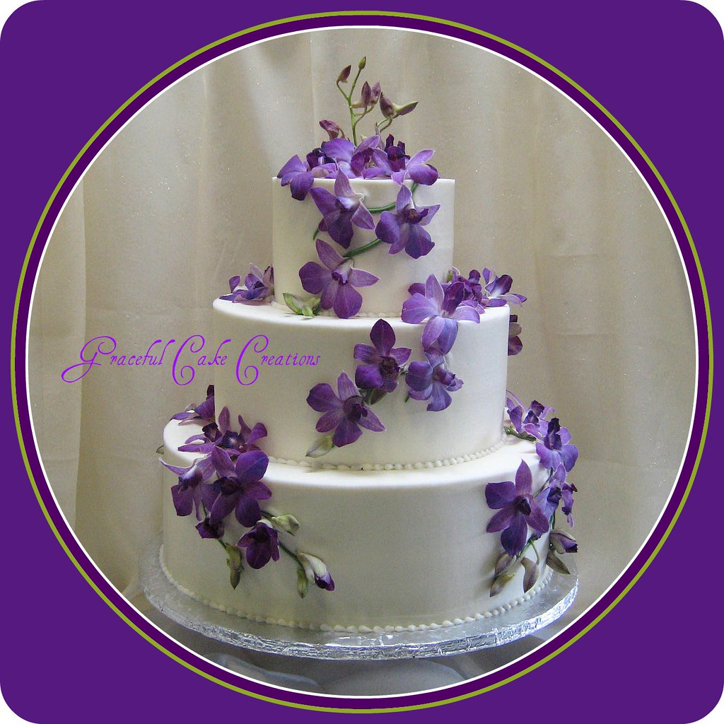 Ivory Wedding Cake with Purple Orchids a photo on Flickriver