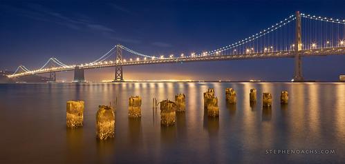sanfrancisco california nightphotography bridge beautiful bay panoramic baybridge embarcadero pylons nodal scottdavis stephenoachs stephenoachscom apertureacademy apertureacademycom