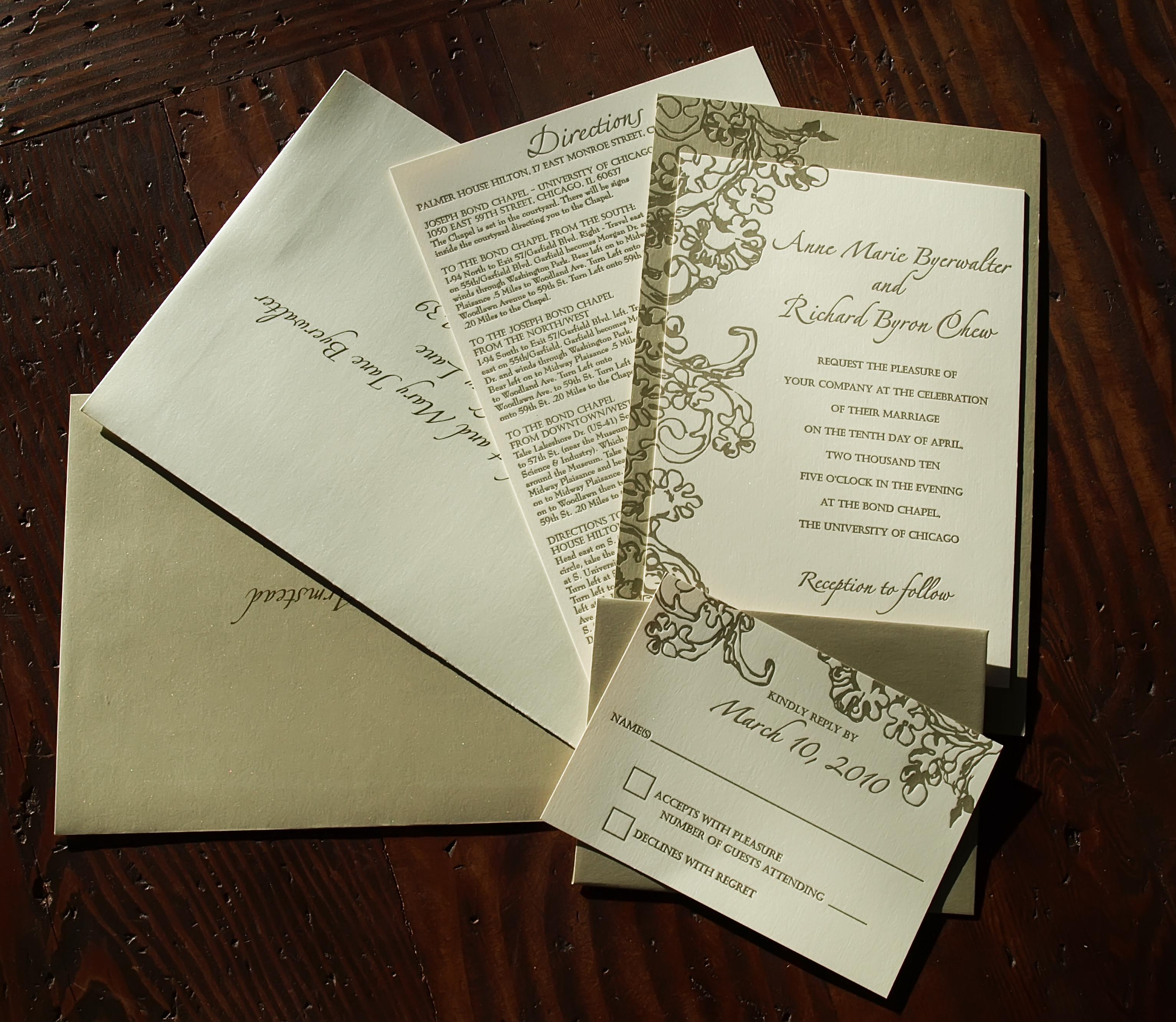 Matchy Matchy Letterpress Invite And Handmade Envelope: Letterpress Wedding Invitation Set - 6 X 9 - Gold