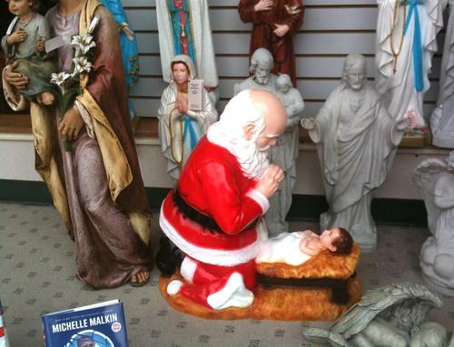 Santa Worshiping Baby Jesus