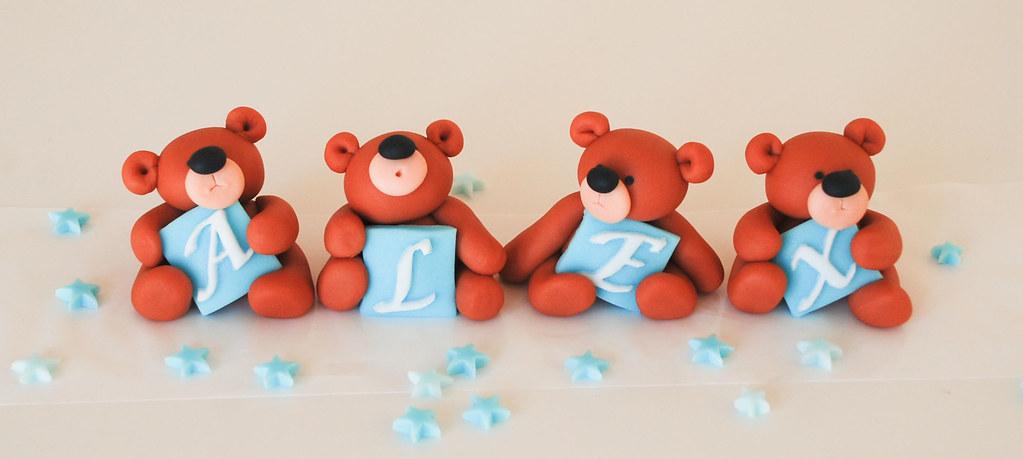 handmade christening teddy bear cake toppers