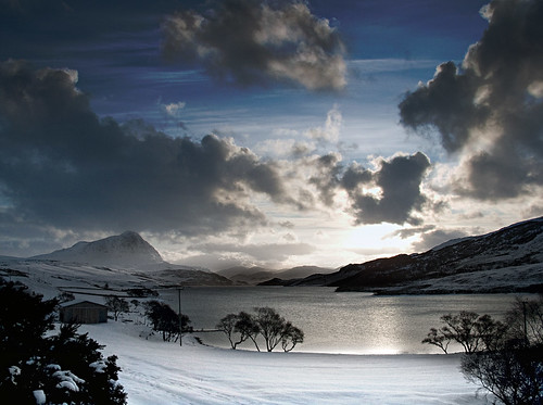 sunset sky mountain snow mountains ice water sunshine clouds river hope scotland ben snowy hill highland loch sutherland moine beinn minerwilly