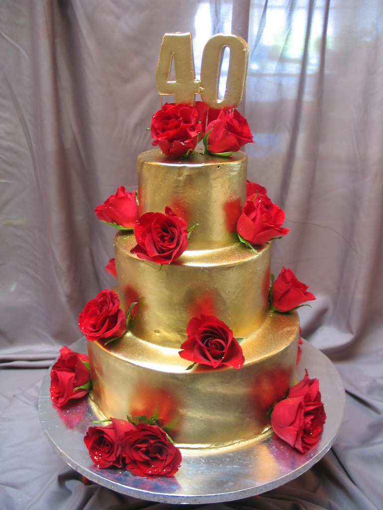 Gold Ganache 3 Tier 40th Birthday Cake With Red Roses