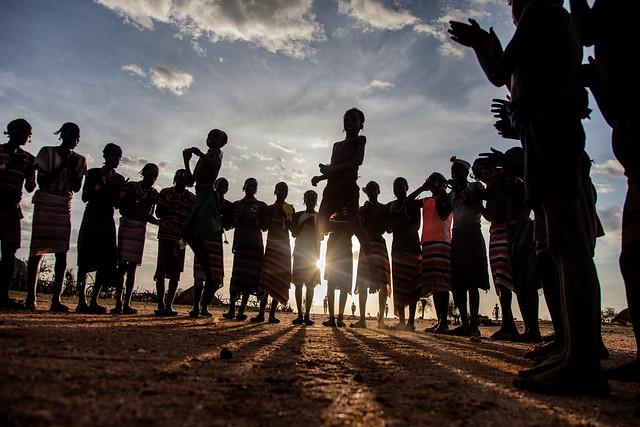 Evangadi dance at sunset of the tribe Hamer, omo valley
