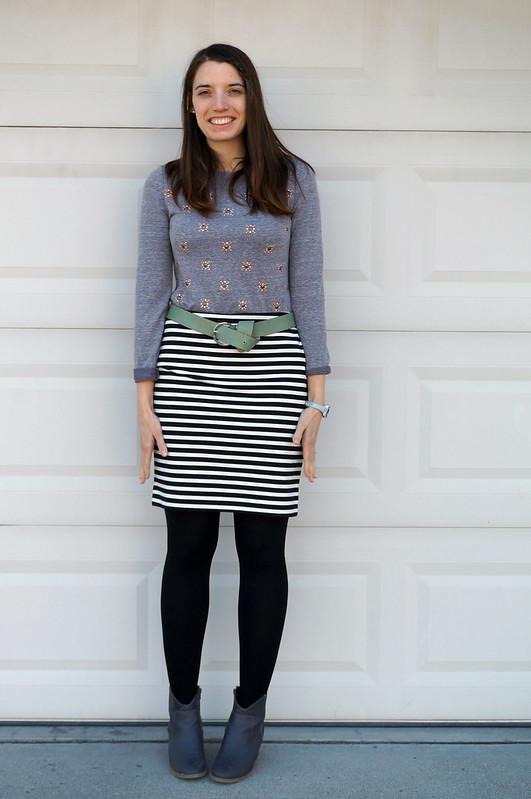 stripes and embellished sweatshirt