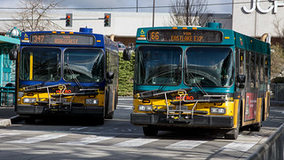 Northgate TC: a pair of 40' NFI coaches begin their runs