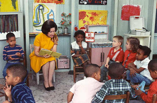 Photograph of Lady Bird Johnson Visiting a Classroom for Project Head Start, 03/19/1966