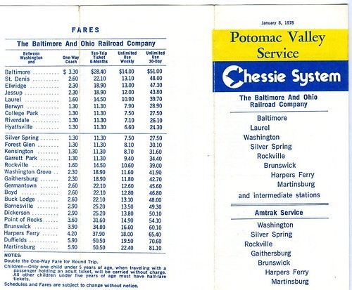 19780108 01 Potomac Valley Service timetable