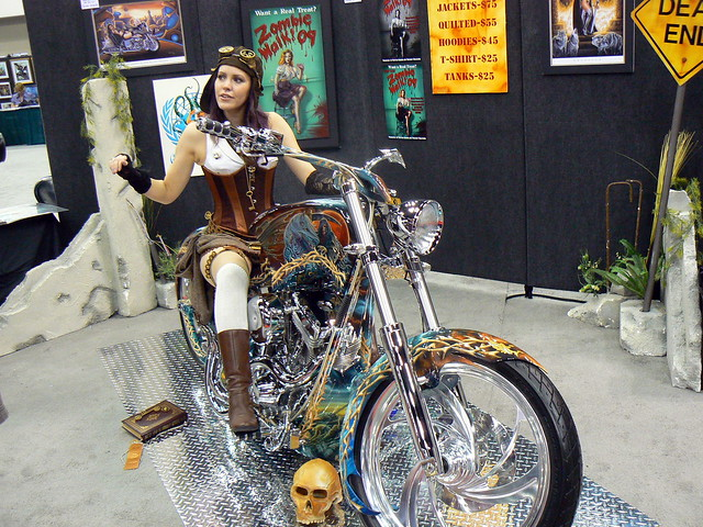 Steampunk biker girl
