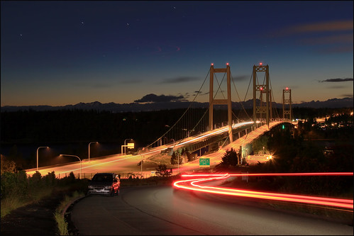 The Narrows Bridge at night, Tacoma, Washington