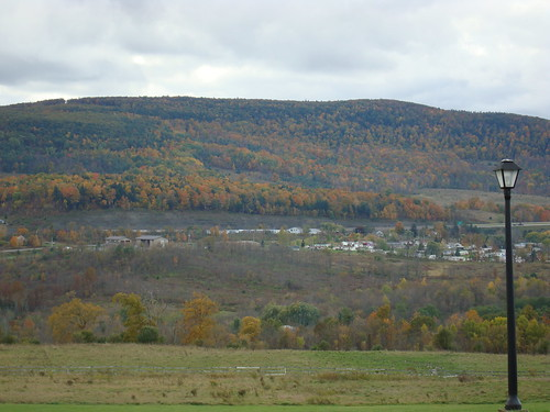 autumn trees light sky mountain ny newyork color fall field clouds view foliage lamppost lightpost howecaverns