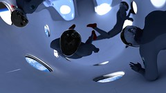Zero G Graphic. Astronauts experiencing weightlessness in SpaceShipTwo cabin.