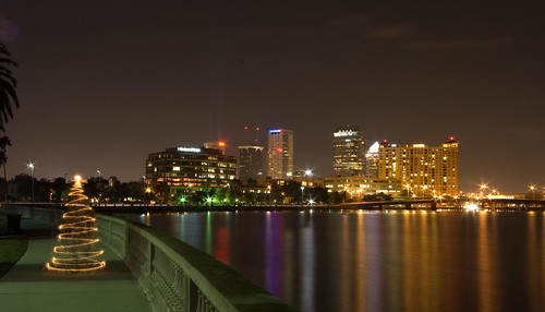 Christmas time shot of downtown Tampa