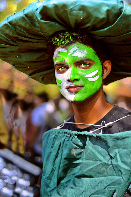 At the Goa Carnaval - Portrait of a Young clean and green Man.