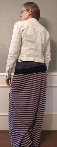 Bleached Denim Jacket & Striped Maxi Skirt - After