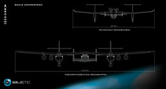 Head On View comparison diagram of WhiteKnightOne and SpaceShipOne against WhikeKnightTwo and SpaceShipTwo.