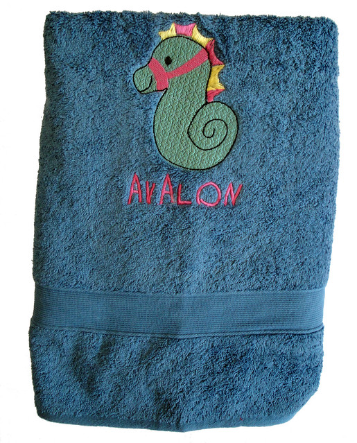 Personalised Beach Towel Pegs: Seahorse Towel For Avalon