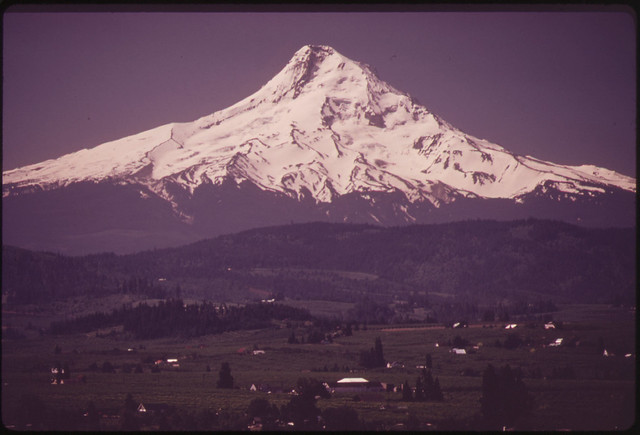 DOCUMERICA: Hood River Valley and the Northeast Face of Mt. Hood Showing the Eliot, Coe, and Ladd Glaciers 05/1973 by David Falconer.