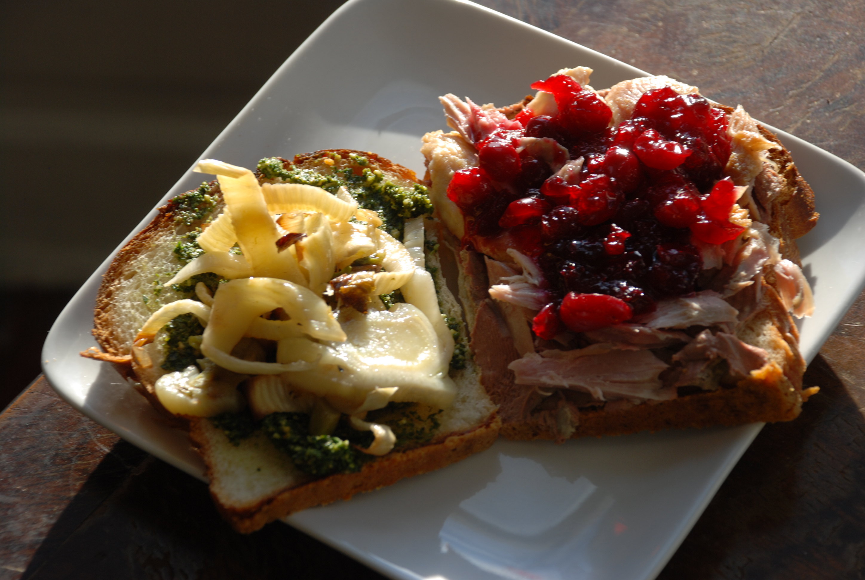 turkey sandwich from Thanksgiving leftovers