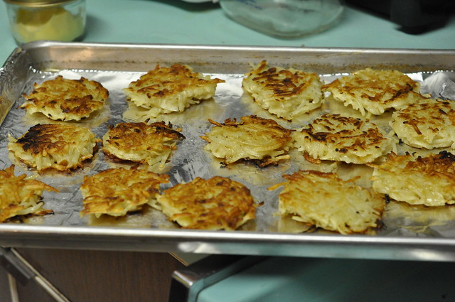 latkes on cookie sheet