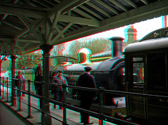 Bluebell railway Steam Locomotive No.592 at Kingscote Station red blue glasses to view