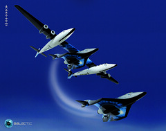 Dropshot. Conceptual image of SpaceShipTwo being released from VMS Eve