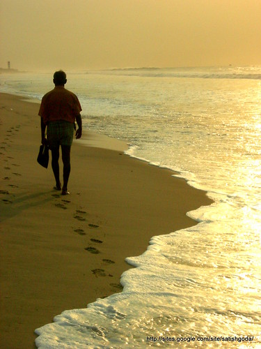 ocean india man beach sunrise walking