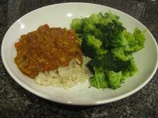 Red Lentil Dal with Brown Rice and Broccoli