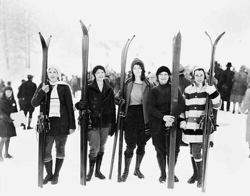 Five women posed with skis, Leavenworth, Washington