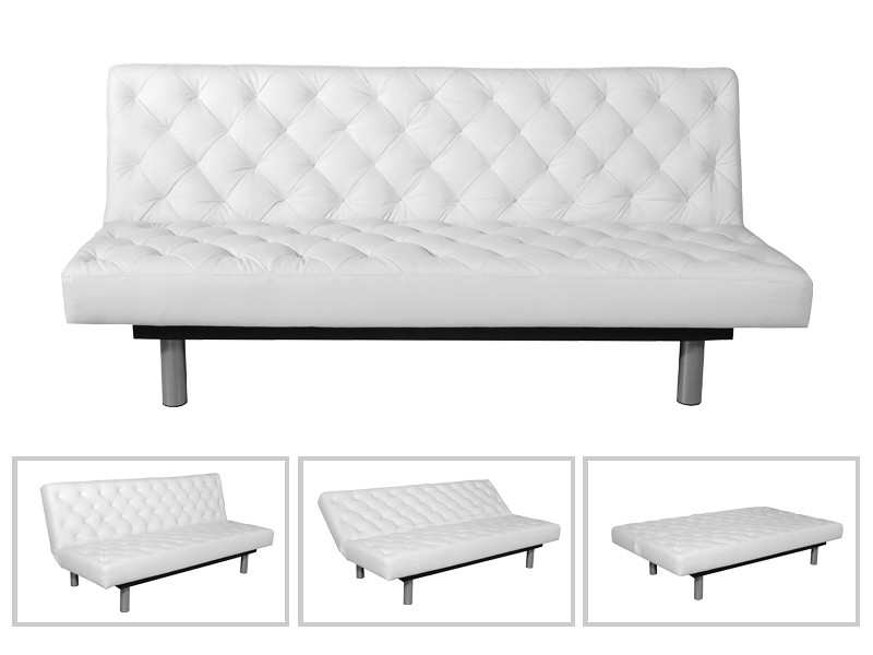 banquette lit canape clic clac london facon cuir blanc. Black Bedroom Furniture Sets. Home Design Ideas