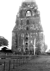 Sinking Bell Tower of St. William's Cathedral (1612), Laoag City, Ilocos Norte, Philippines. c1934
