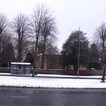 Hall Green Church from the snowy dual carriageway