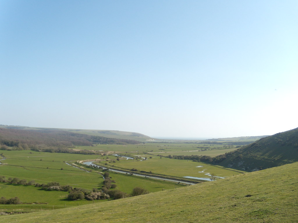 View to Cuckmere High and Over Hill, Berwick to Seaford