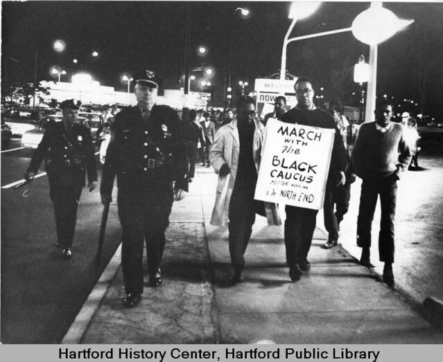 Marchers for better North End (Hartford) housing, West Hartford, 1967