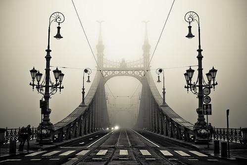 bridge fog hungary nebel budapest foggy brücke ungarn پل مه szabadsághid efs1855mmf3556 canoneos400d bridgebudapest armanh imagicland بوداپست مجارستان