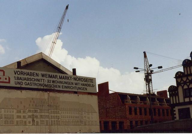 Weimar  Bau Vorhaben Markt Nordseite, DDR Aug 1989