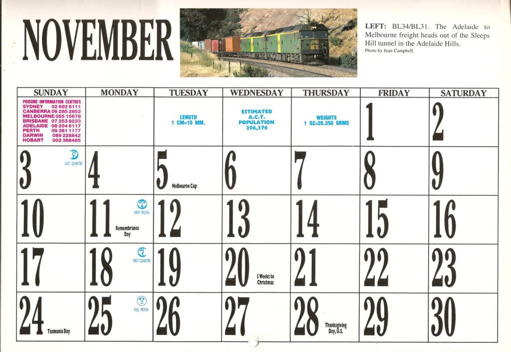 1996atc0025 November Page 1996 Australian Trains Calendar Flickr