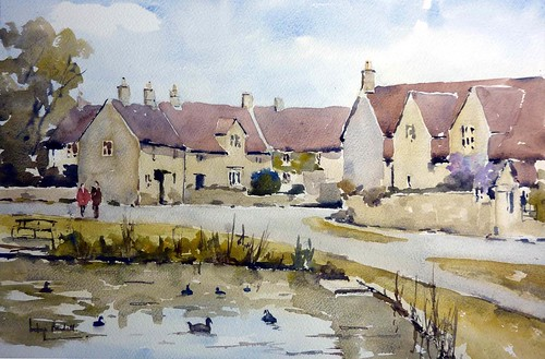 Biddestone Village, Wiltshire by melvynswatercolours