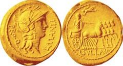 RRC 367/4 Aureus Roma MANLI PRO Q Sulla quadriga L SVLLA