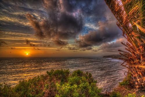 ocean sky clouds cloudscape ptfermin palosverdespeninsula sanpedro southerncalifornia california landscape seascape colors sunset palmtree stormclouds stormy