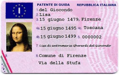 la patente di guida della Gioconda