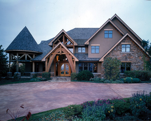 Four suns timber frame home front exterior a photo on for Timber frame exteriors