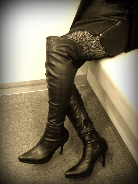 black boots 17 and black leather skirt flickr photo