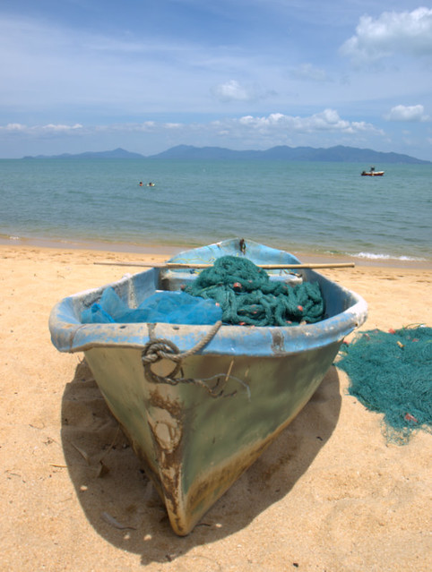 Fisherman boat at the beach at the Samui